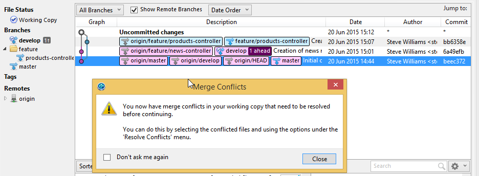 SourceTree - Merge Conflict in Git repository